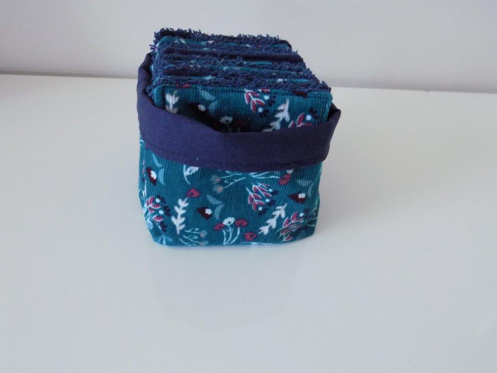 10 Lingettes démaquillantes lingettes bébé oeko tex velours fleurs + panière
