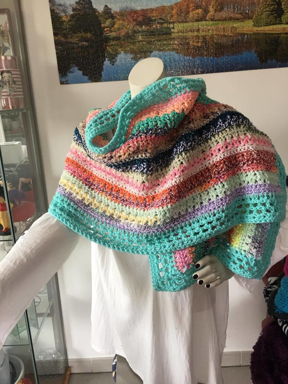 Grande écharpe bohème , étole , chauffe épaule femme [872]