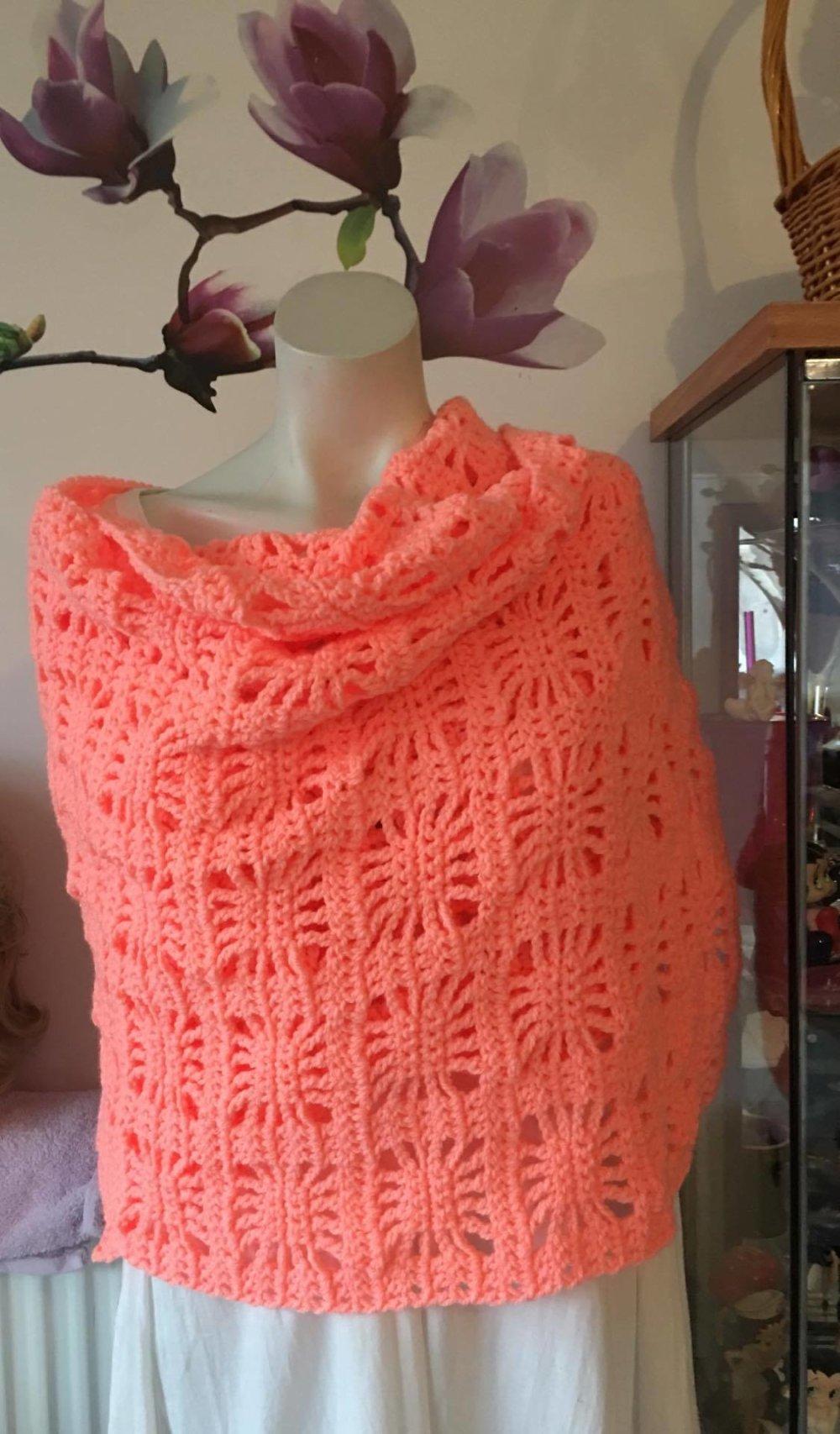 Grande écharpe  , étole , chauffe épaule femme fait main 100% acrylique  [879]