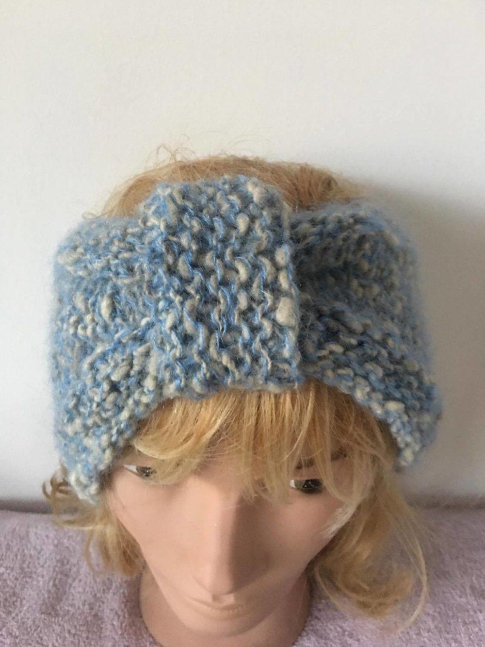 Bandeau , cache oreilles  (laine + angora + mohair ) [881] ,tricot main ,laine naturel , mouton ,française , mérinos , texel