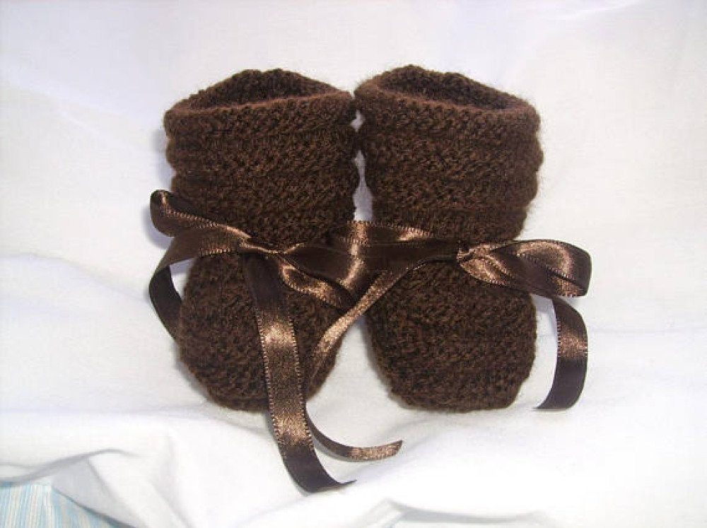 Chaussons bébé / reborn laine 0/3 mois Laine chocolat