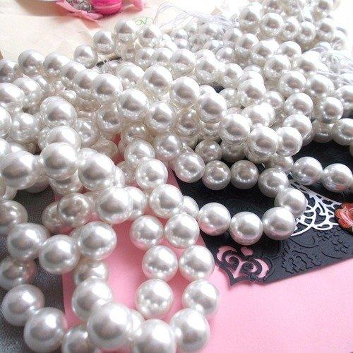 Perles japonaises acrylique ronde blanche