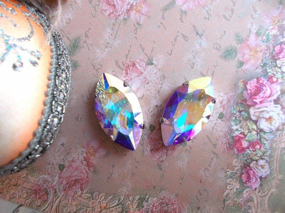 cabochons cristal de Swarovski aurore boreale AB 30mm