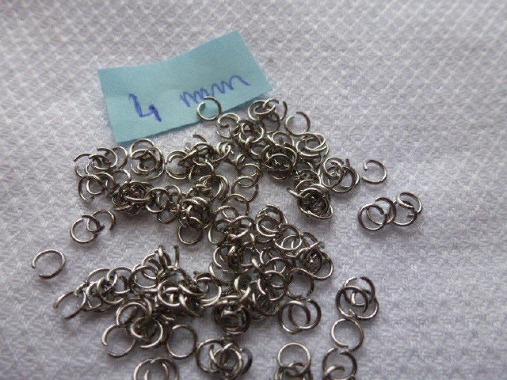 100 anneaux de connection ouvert en inox  argenté 4mm (x100)