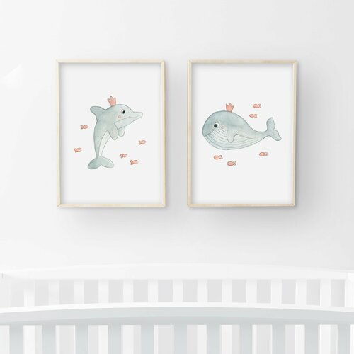 Illustrations chambre enfant a4, aquarelle ensemble dauphin et baleine,  décoration mer rose, bleu gris, affiche animaux pour béb