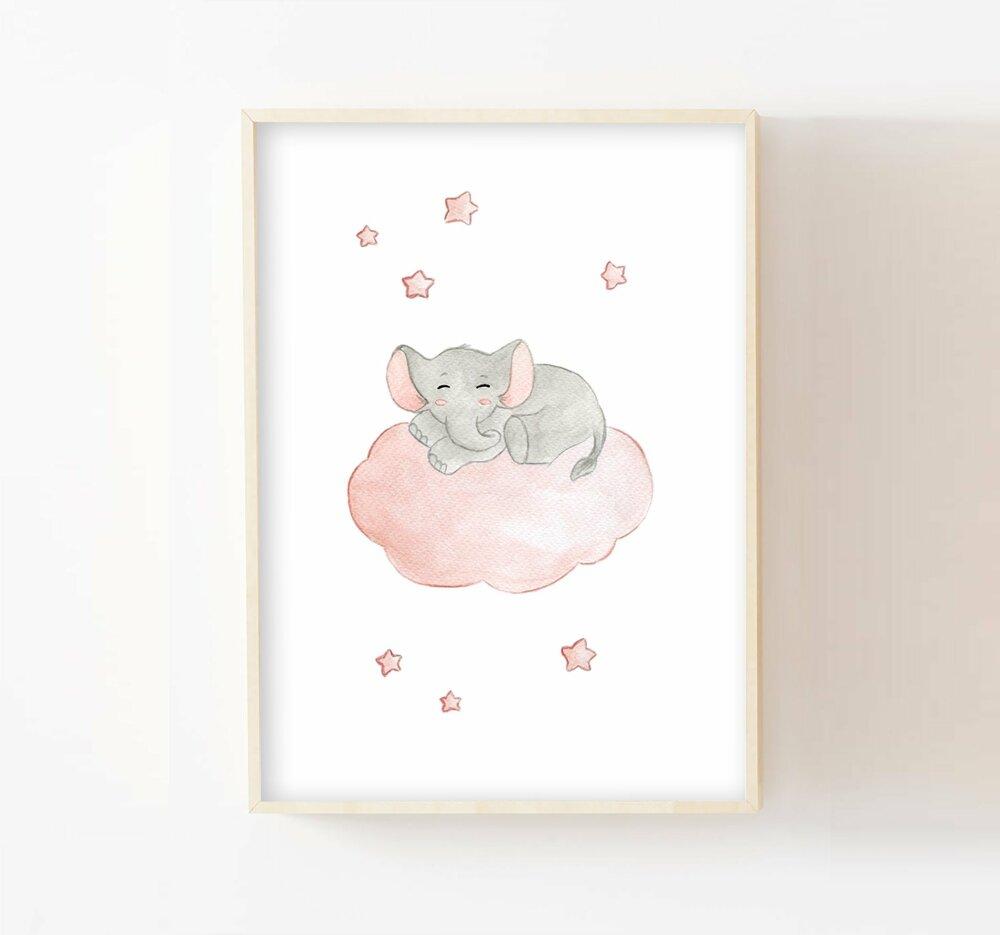 Décoration chambre bébé a18, aquarelle éléphant sur nuage, cadeau naissance,  poster mural animaux, tableau dans les étoiles enfant,