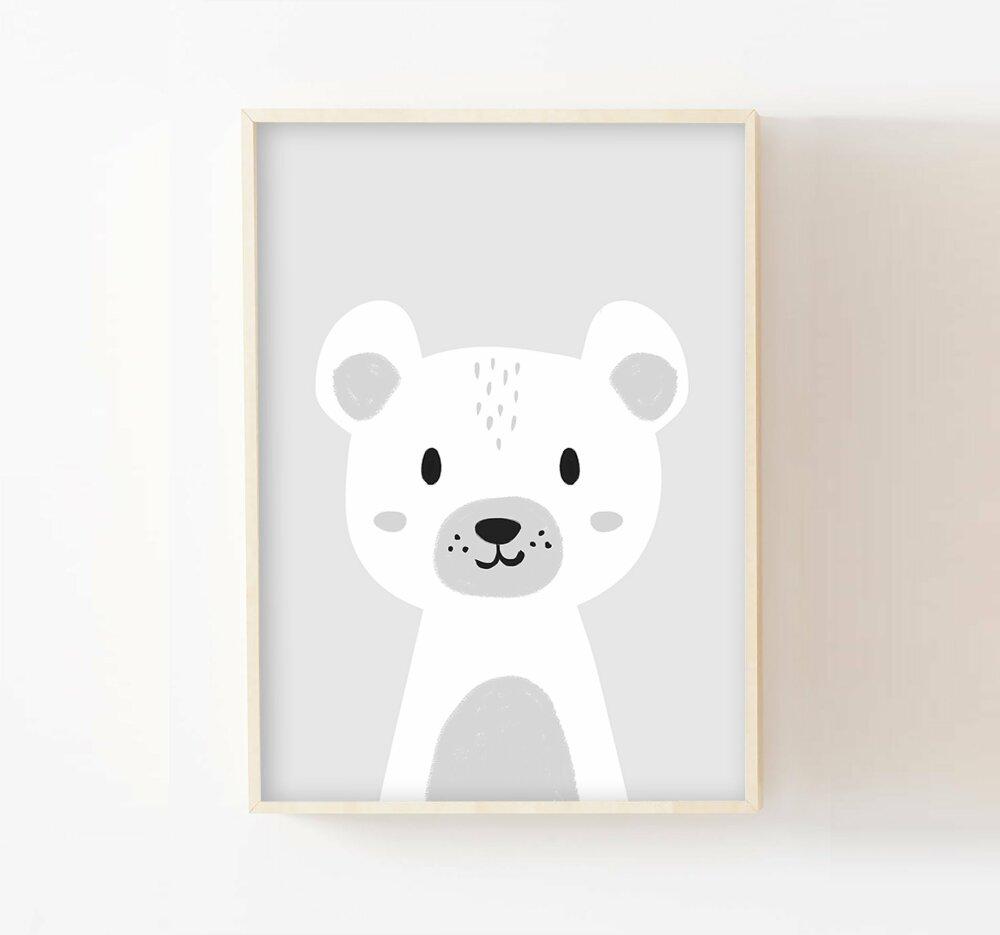 Affiche ours chambre enfant a10 décoration murale bébé, nouveau-né, poster  fille ou garçon gris pastel, noir, collection animaux polaire