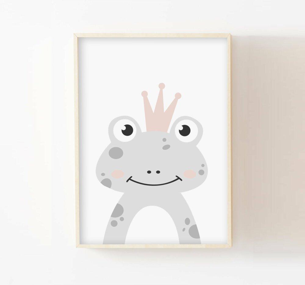 Poster prince grenouille personnalisé A4 cadeau naissance chambre bébé, enfant, fille ou garçon, affiche décorative rose et gris pastel