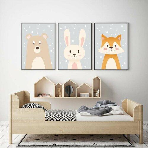 Lot 3 affiches enfant a4 ours, renard, lapin, cadeau naissance, chambre  bébé, nouveau-né, décoration gris, beige, orange, fond neige