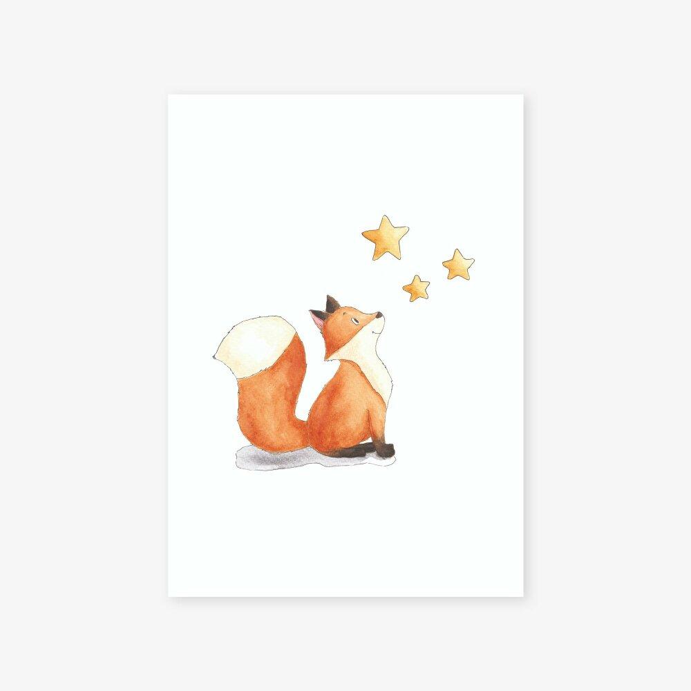 Décoration chambre enfant a18, bébé, impression aquarelle renard, collection  dans les étoiles, affiche animaux, impression, poster