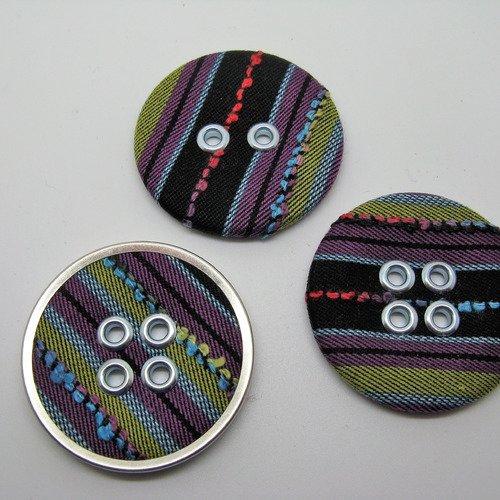 Lot de 3 gros boutons ronds recouvert en tissu diamètre 4.5cm