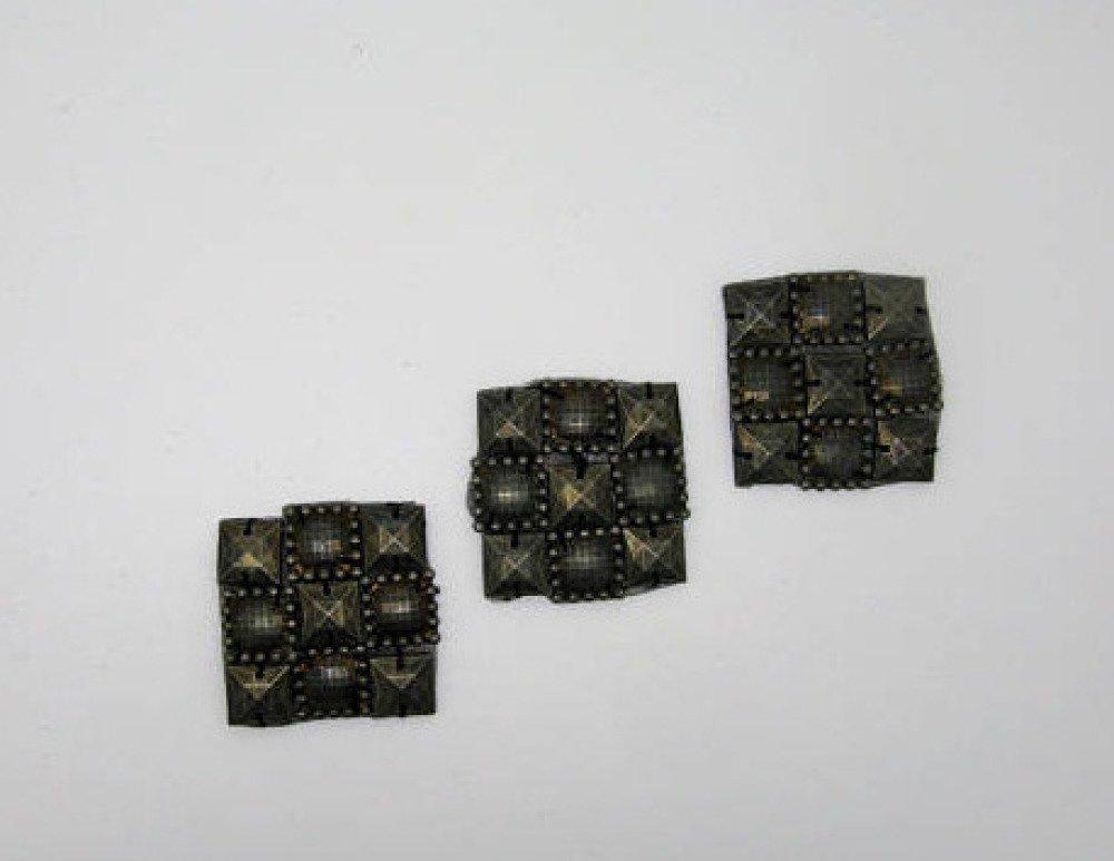 Lot de 3 applications écussons thermocollants plastique métallisé bronze- réf 6I