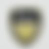Écusson application thermocollant blason royal avec couronne marine et beige