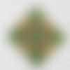 Application écusson en strass vert et orange clair