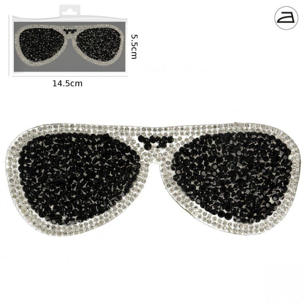 Application thermocollante lunettes strass noir et argent