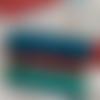 Pochette pour masque en simili cuir - turquoise et rouge
