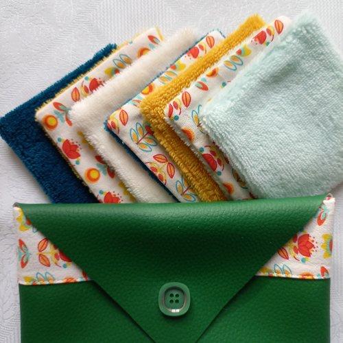 Lot de cotons lavables et leur pochette assortie - vert foncé.