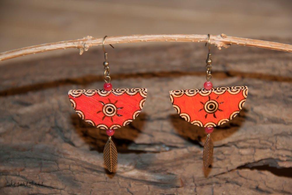 Boucles d'oreille ethnique en bois