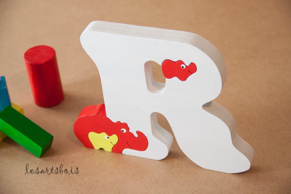 Puzzle en bois, lettre alphabet ( Rhinocéros )