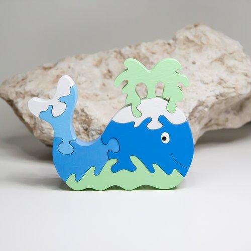 """Reserve jouet en bois : puzzle  """" baleine """""""
