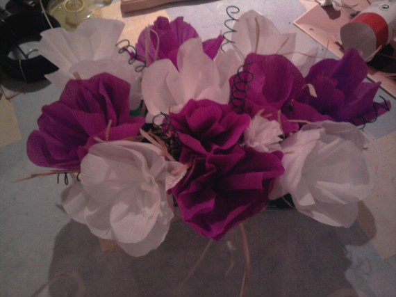 centre de table fleur papier crepon