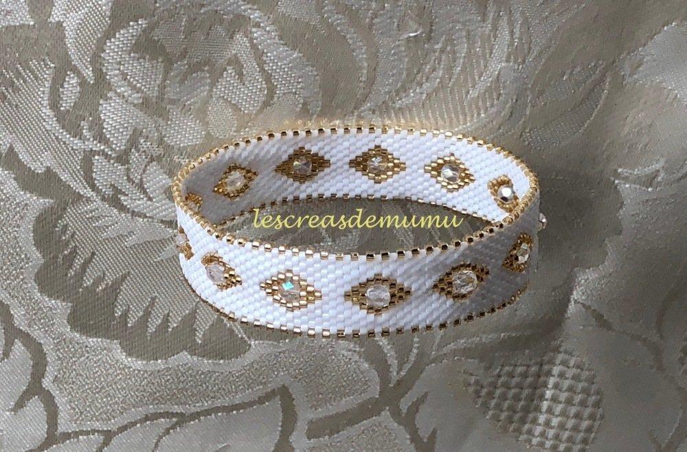 Bracelet angle blanc et doré en perles miyuki