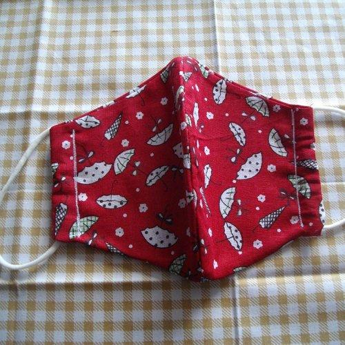 Masque enfant rouge avec des parapluies blancs