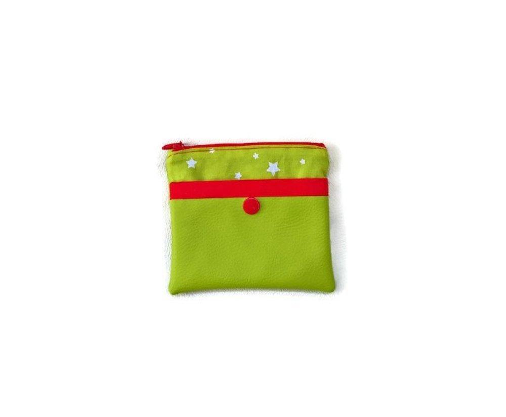 Porte-monnaie vert en simili cuir et coton . cadeaux de noel