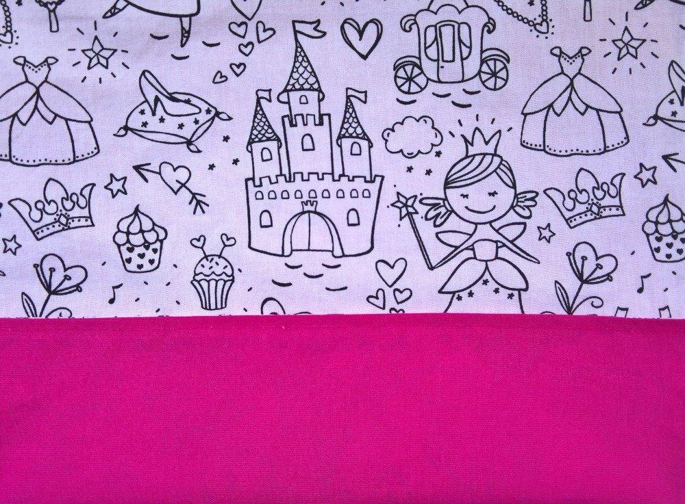 serviette de table enfant double face bleu à colorier princesses