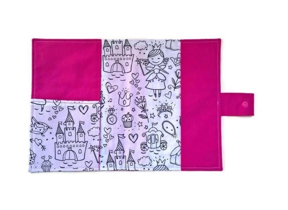 protège carnet de santé rose à colorier princesses