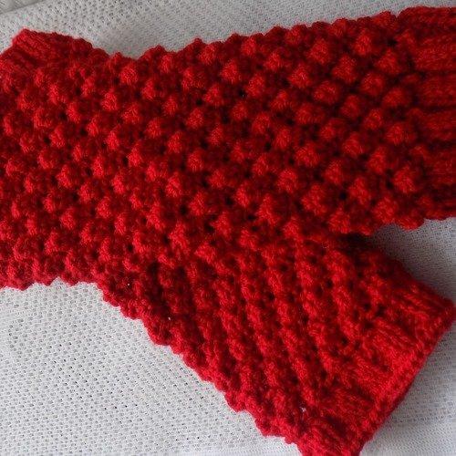 Jambièresguêtres Rouges Pour Bébé Au Tricottaille 12 à 24