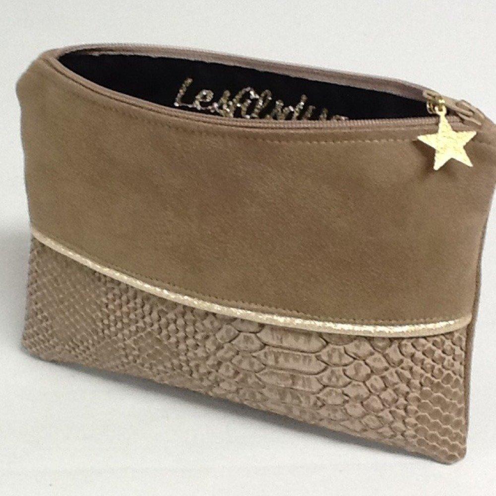 Porte monnaie cuir végétal et suédine camel avec étoile dorée / Petite pochette plate simili cuir crocodile / Personnalisable