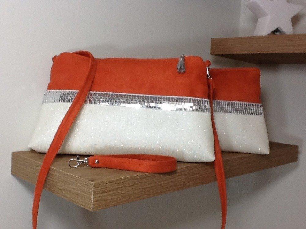 Pochette soirée, mariage, orange, blanc, style Vanessa Bruno / Sac à main suédine, simili cuir, paillettes argentées, personnalisable
