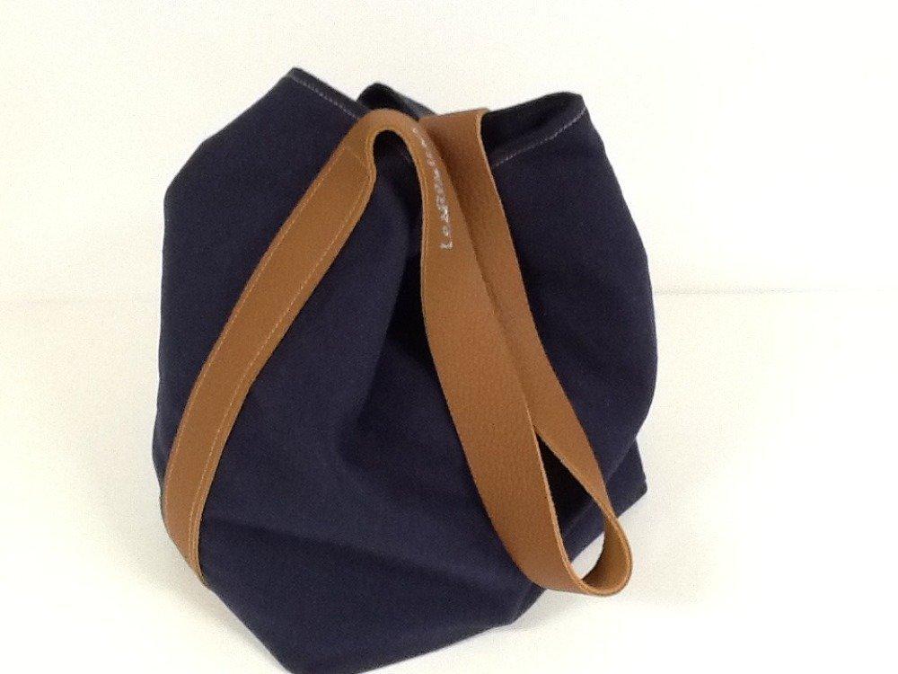 Sac seau lin bleu marine, anse cuir fauve surpiquée / Sac porté épaule lin lavé et cuir / Sac fourre tout femme