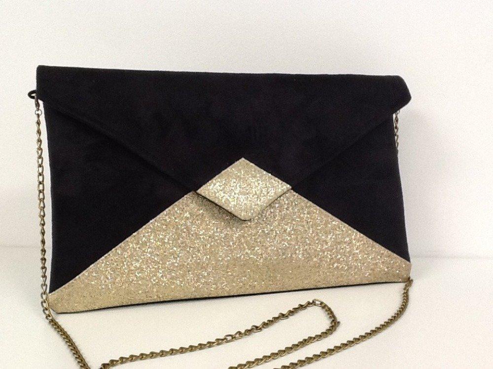 Pochette soirée noire à paillettes dorées, bandoulière chaînette dorée / Sac à main noir et doré, forme enveloppe / Personnalisable