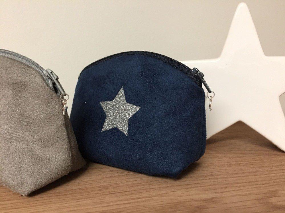 Porte monnaie bleu marine, étoile paillettes argentées, femme, enfant / Bourse suédine personnalisable / Cadeau à personnaliser
