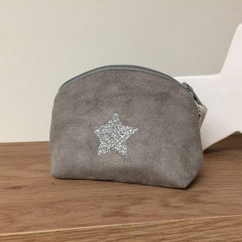 Petit porte monnaie gris souris, étoile paillettes argentées / petite bourse suédine femme et enfants / portemonnaie personnalisable