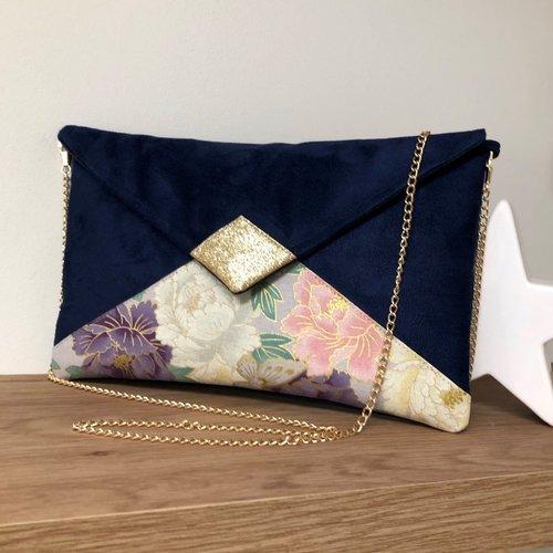 Pochette mariage bleu marine rose, mauve, paillettes dorées / sac chaînette forme enveloppe, suédine, tissu japonais, personnalisable