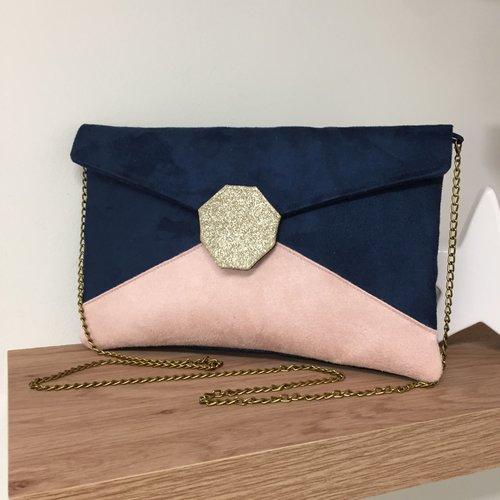 Pochette mariage bleu marine, rose poudré, paillettes dorées / sac chaînette forme enveloppe personnalisable, en suédine