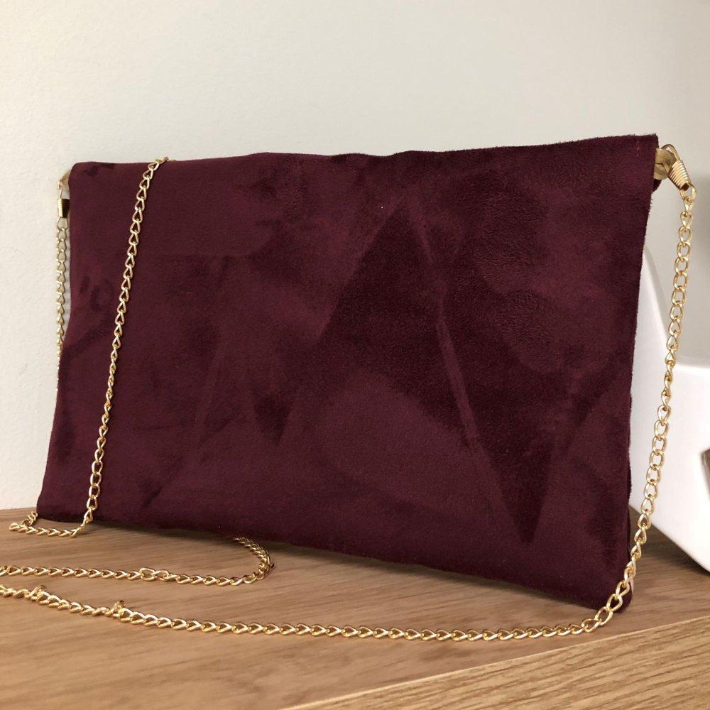 Pochette mariage bordeaux, rose, paillettes dorées / chaînette amovible / Pochette bandoulière forme enveloppe, suédine personnalisable