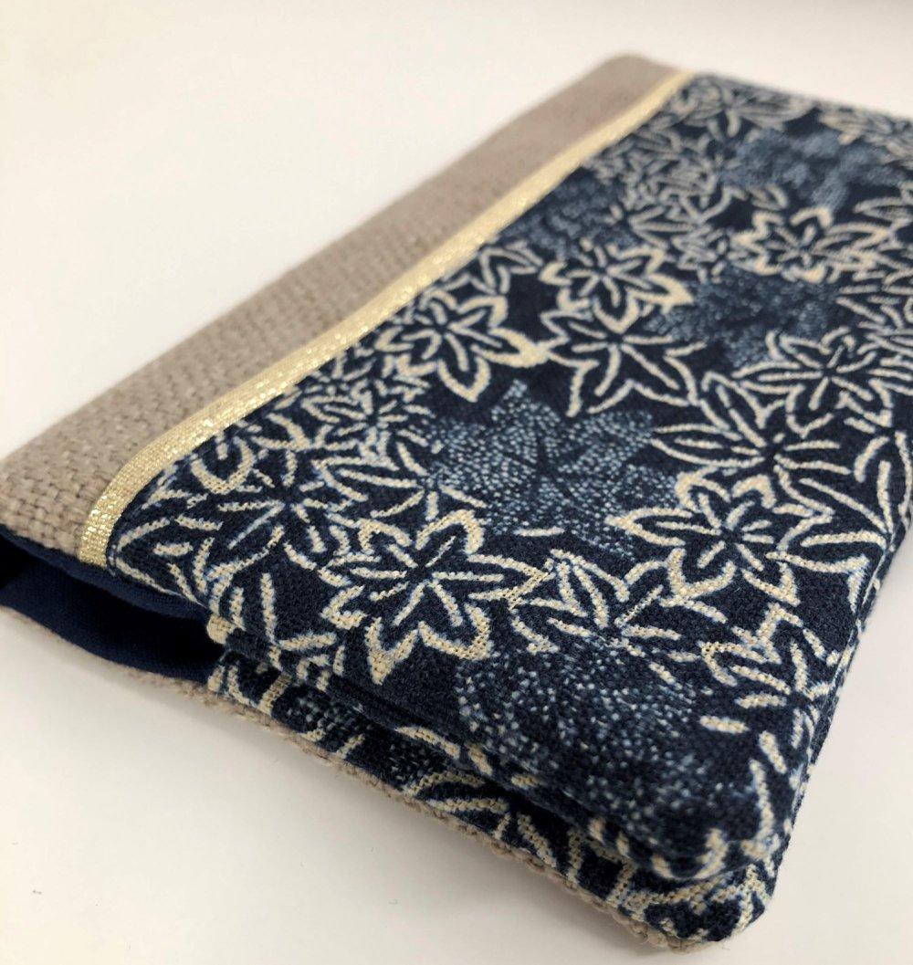 Etui chéquier stylo en lin et tissu japonais bleu indigo / Porte chéquier format portefeuille beige bleu doré / Etui personnalisable