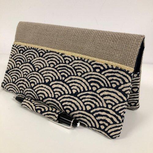 Etui chéquier et stylo en lin et tissu japonais seihaika / porte chéquier format portefeuille beige bleu doré / etui personnalisable