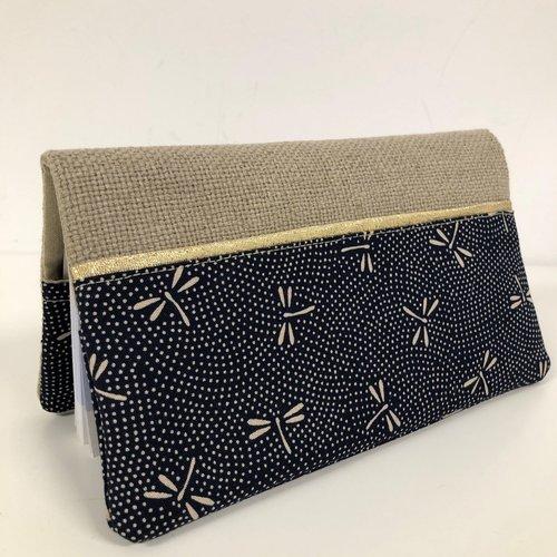 Etui chéquier en lin et tissu japonais bleu libellules / porte chéquier format portefeuille beige bleu nuit doré / etui personnalisable