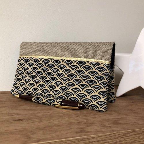 Etui chéquier et stylo, lin et tissu japonais petites vagues / porte chéquier format portefeuille beige bleu doré / etui personnalisable