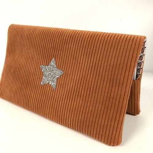 Porte chéquier en velours orange, étoile argentée / etui carnet de chèques format portefeuille / personnalisable
