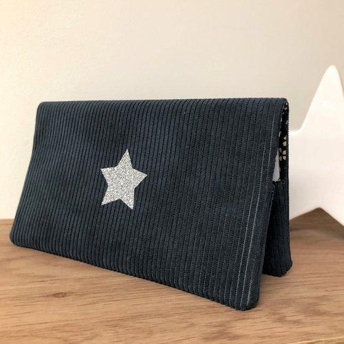 Porte chéquier en velours bleu canard, étoile argentée / etui carnet de chèques format portefeuille / personnalisable