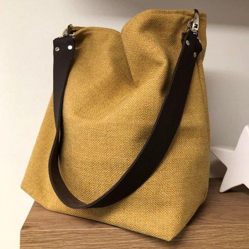 Sac porté épaule lin moutarde, anse cuir marron / sac hobo en toile de lin ocre, anse cuir grainé amovible