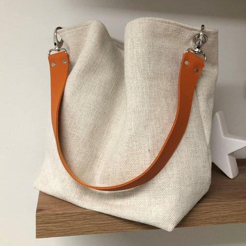 Sac porté épaule lin écru, anse cuir orange / sac hobo en toile de lin ivoire, anse cuir grainé amovible