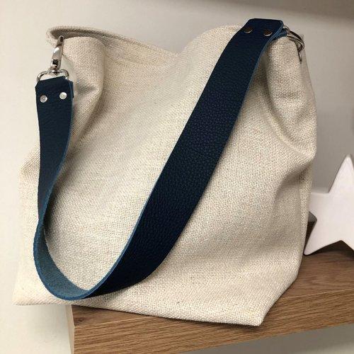Sac porté épaule lin écru, anse cuir bleu marine / sac hobo toile de lin ivoire, anse cuir grainé amovible