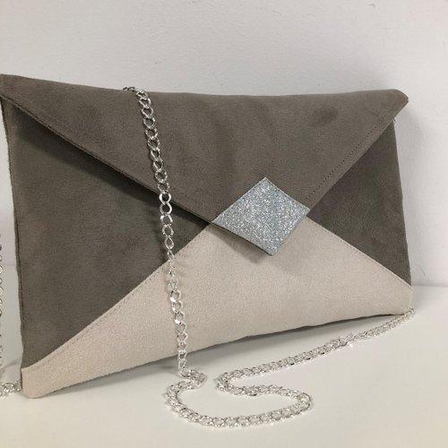 Pochette mariage gris taupe et écru, paillettes argentées / sac pochette forme enveloppe personnalisable, chaînette amovible